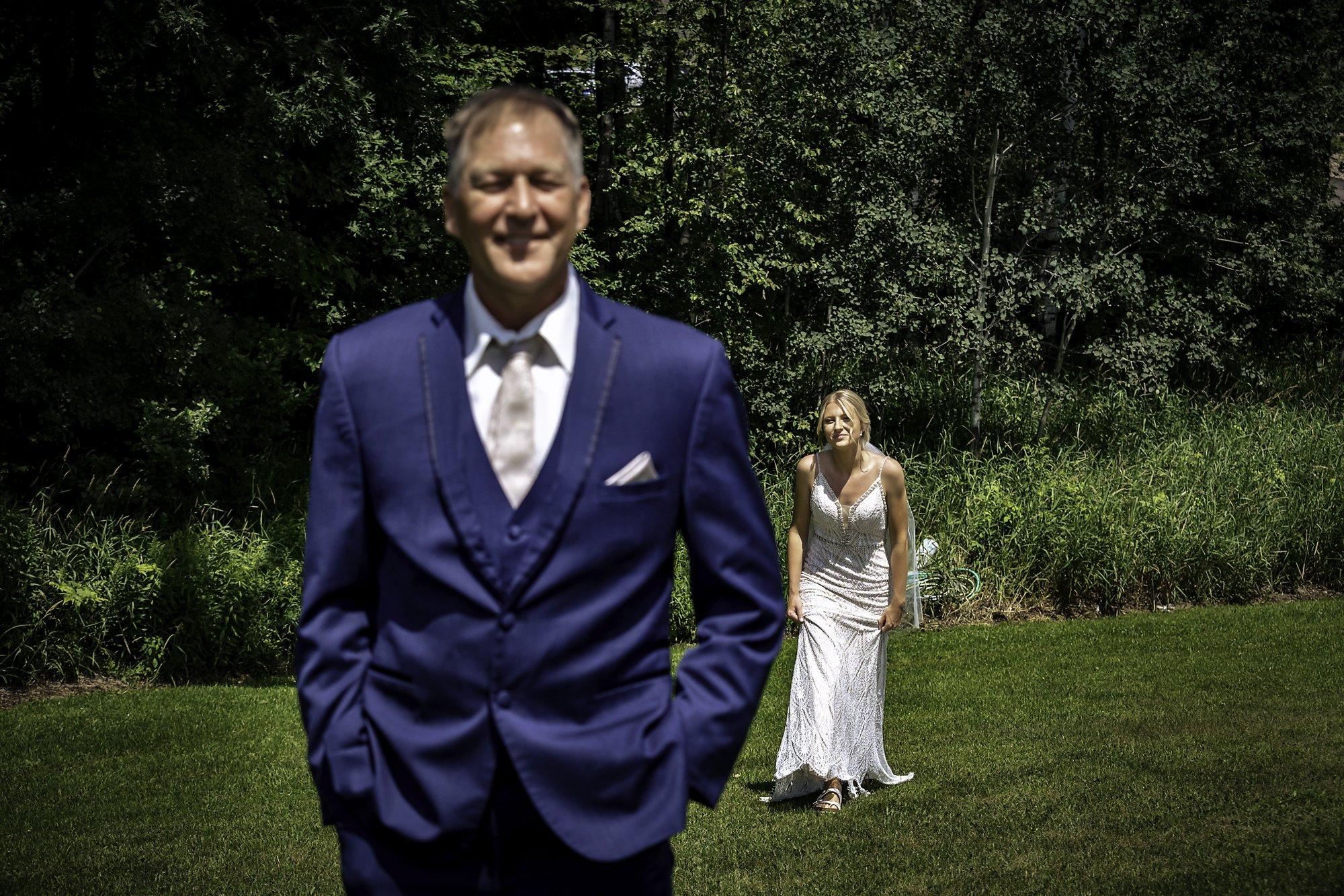 bride walking toward dad first look Dixon's Apple Orchard Wedding   Kaitlyn + Jake
