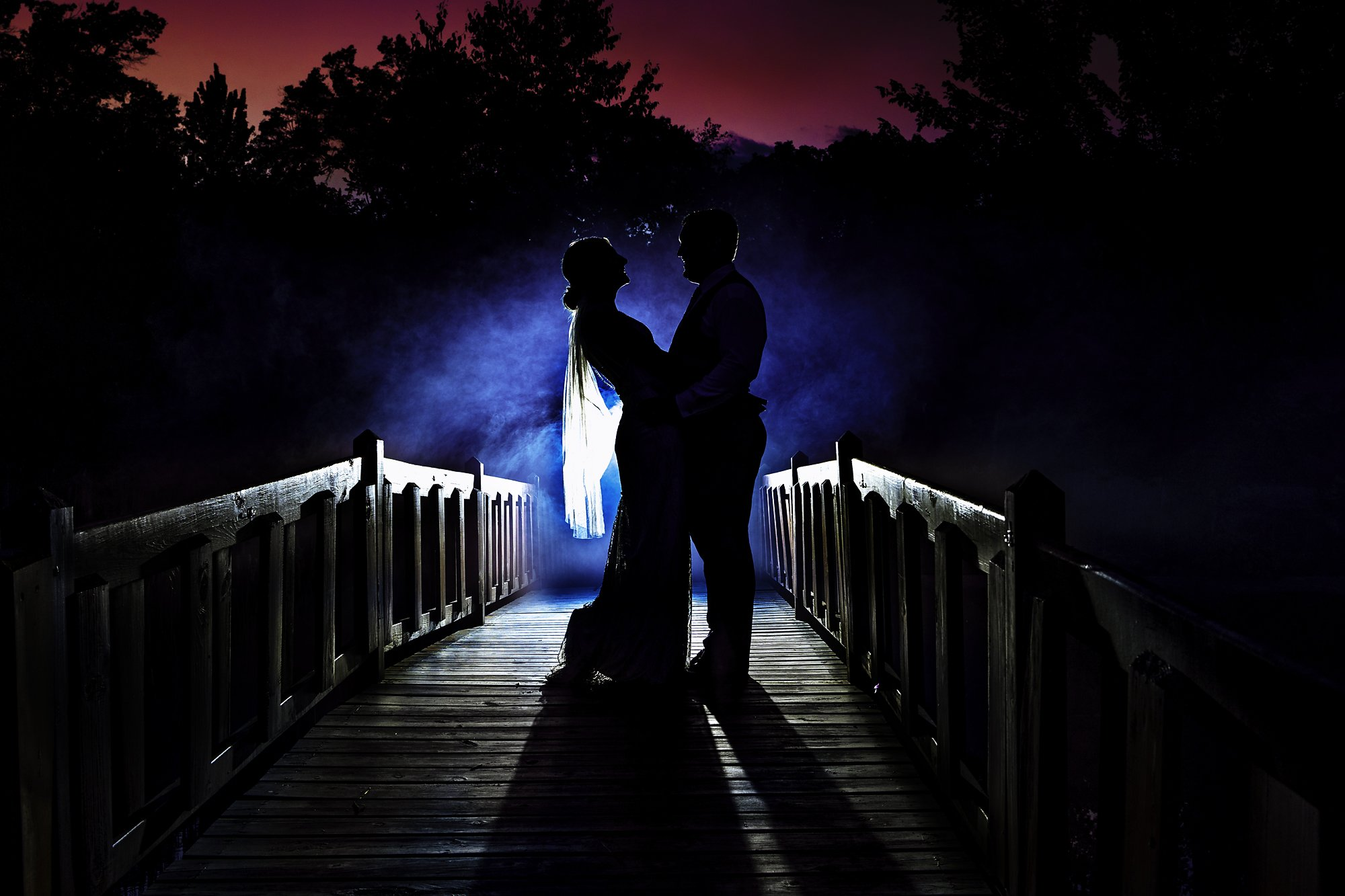 bride and groom with smoke eveing romantic shot Dixon's Apple Orchard Wedding | Kaitlyn + Jake