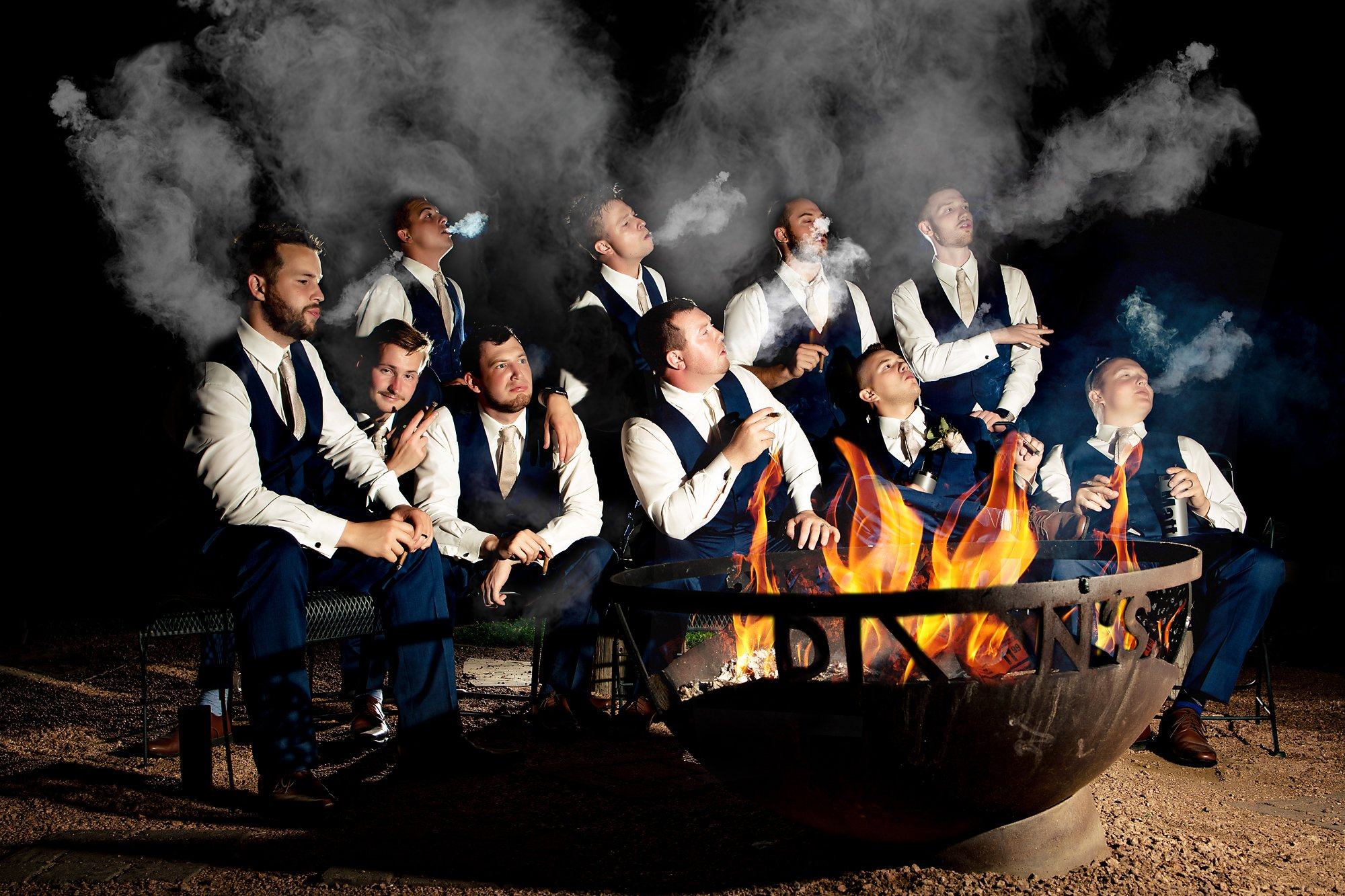 groomsmen and cigars Dixon's Apple Orchard Wedding   Kaitlyn + Jake